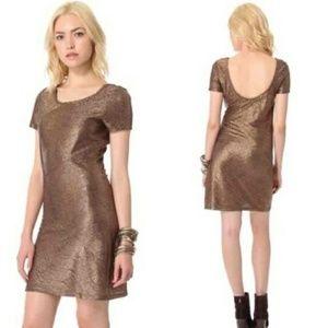 Free People Chocolate Metallic Bodycon Dress